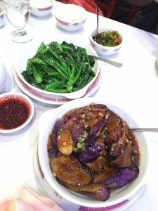Chinese broccoli and eggplants